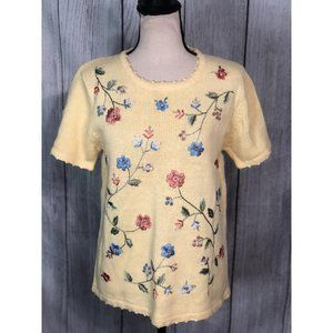 Salon Studio by Haband Yellow Embroidered Top